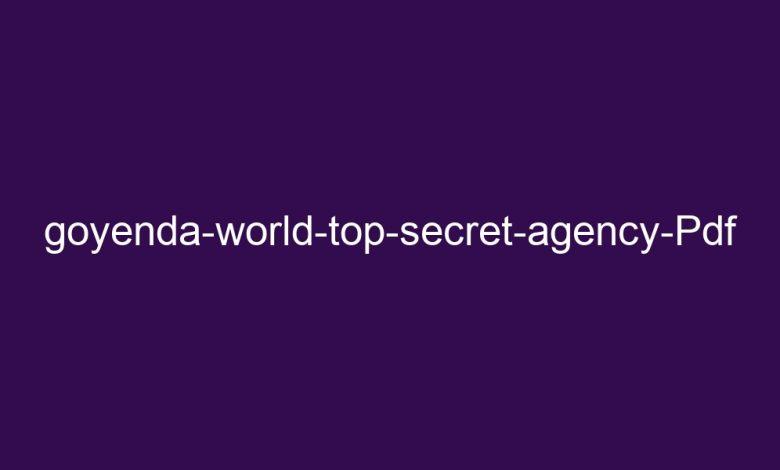 goyenda world top secret agency pdf 4376 1